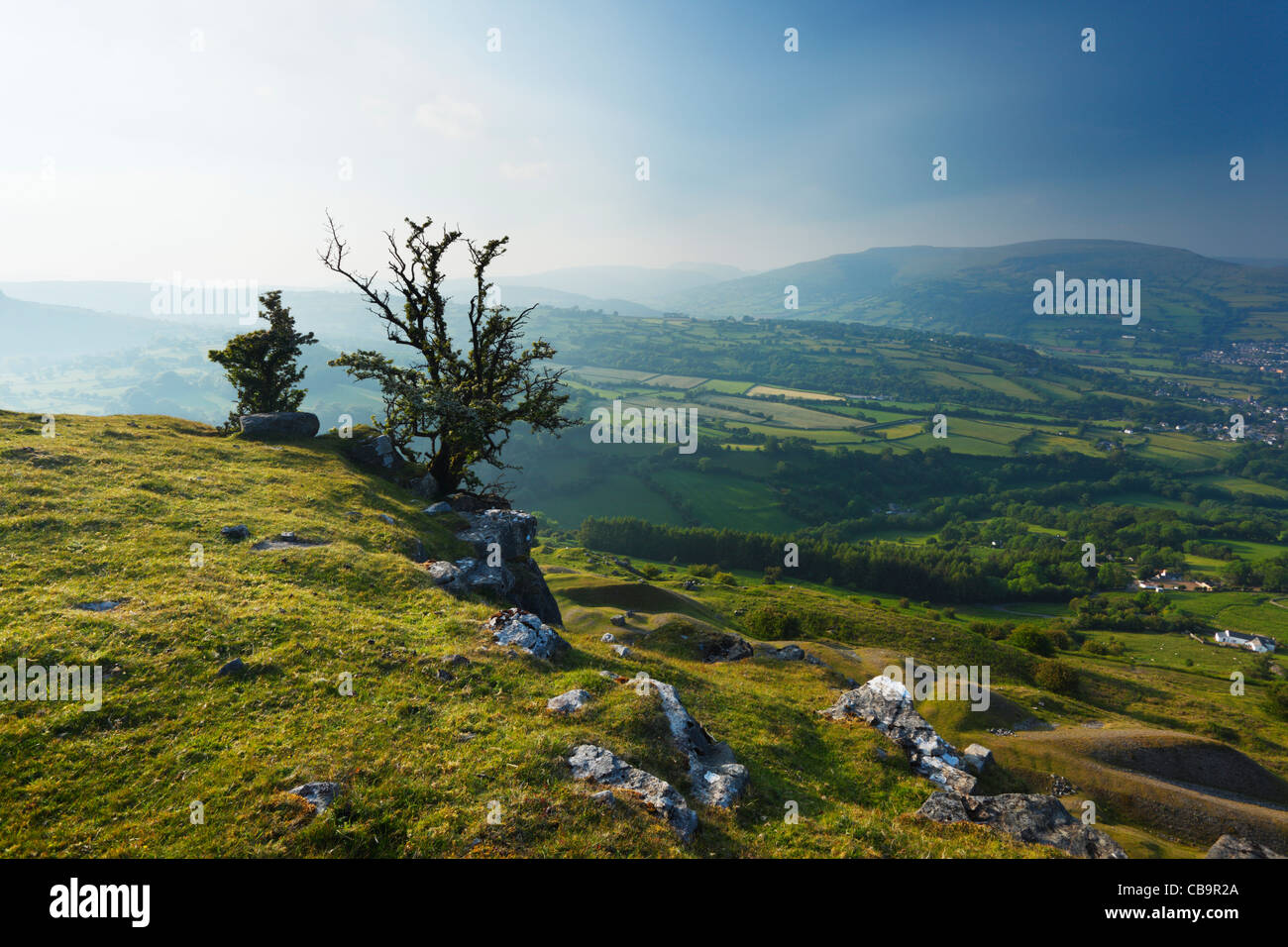 View from Llangattock Escarpment. Brecon Beacons National Park. Powys. Wales. UK. - Stock Image