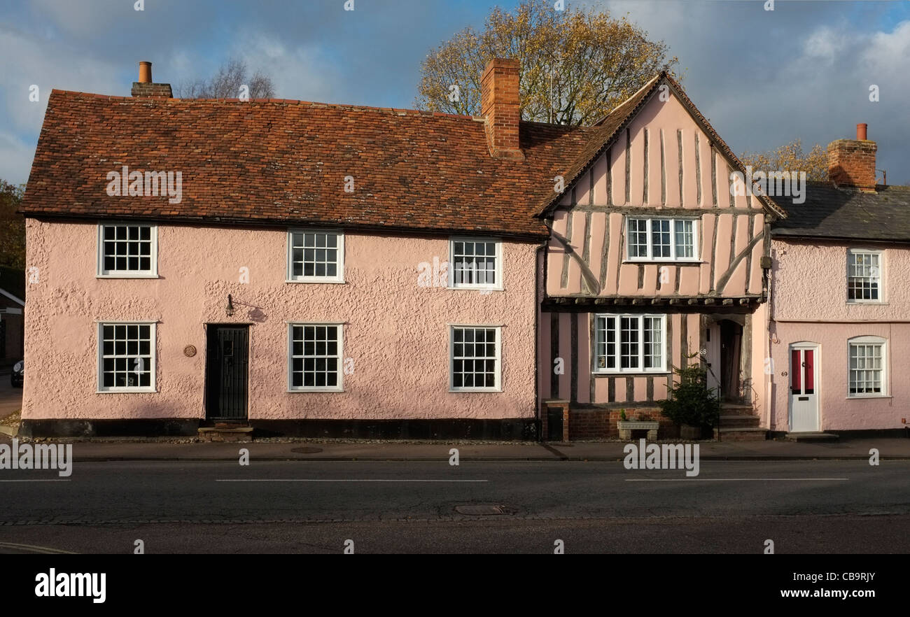 Medieval Houses, Lavenham, Suffolk. - Stock Image
