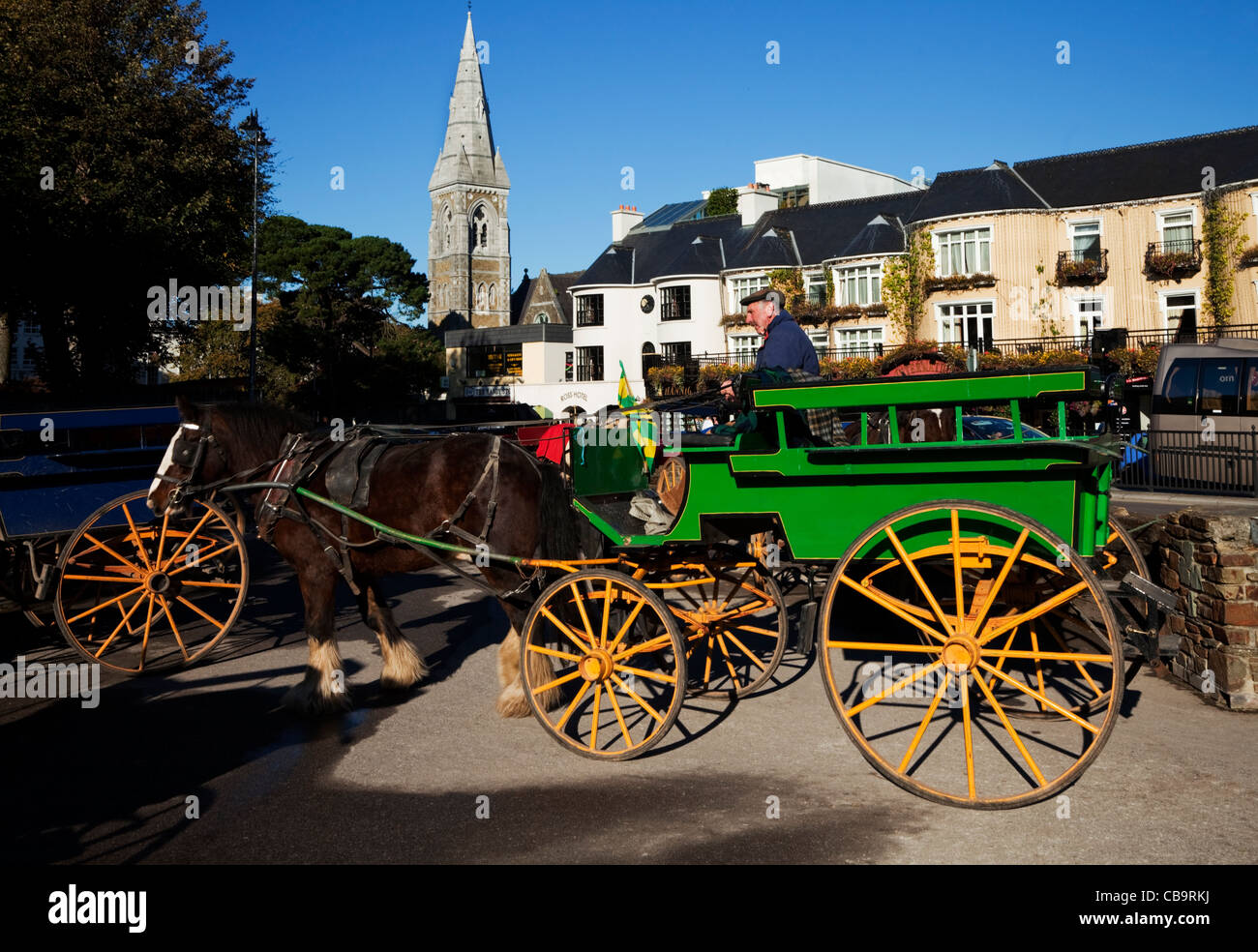Tourist Jaunting Car in Killarney Town, County Kerry, Ireland - Stock Image