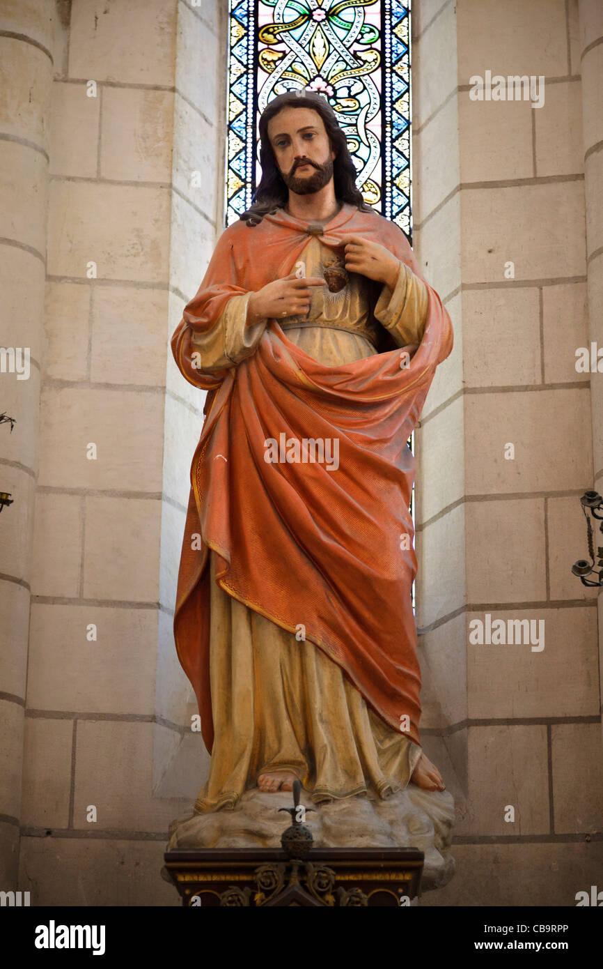 Jesus Christ statue in a Catholic church - Stock Image