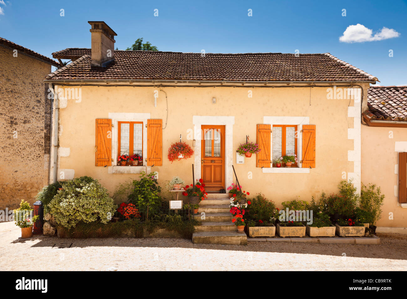 French house in Bourdeilles, Dordogne, France - Stock Image