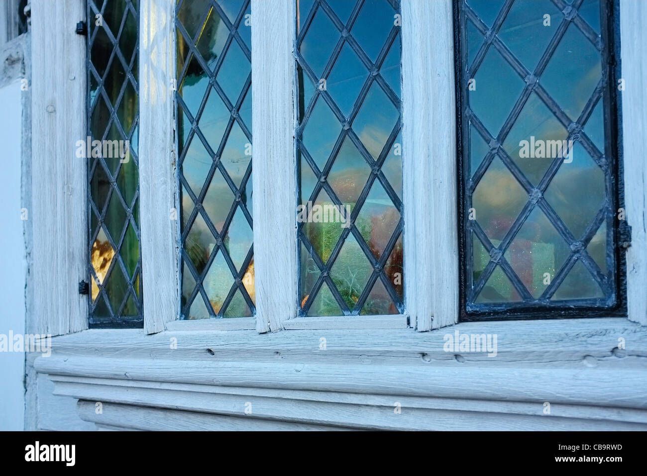 Windows in the Guildhall of the wool guild of Corpus Christi, Lavenham, Suffolk. - Stock Image