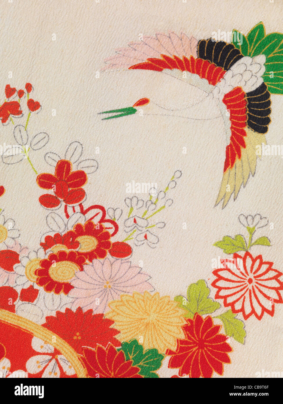 Colorful floral fragment of vintage silk Japanese kimono fabric pattern - Stock Image