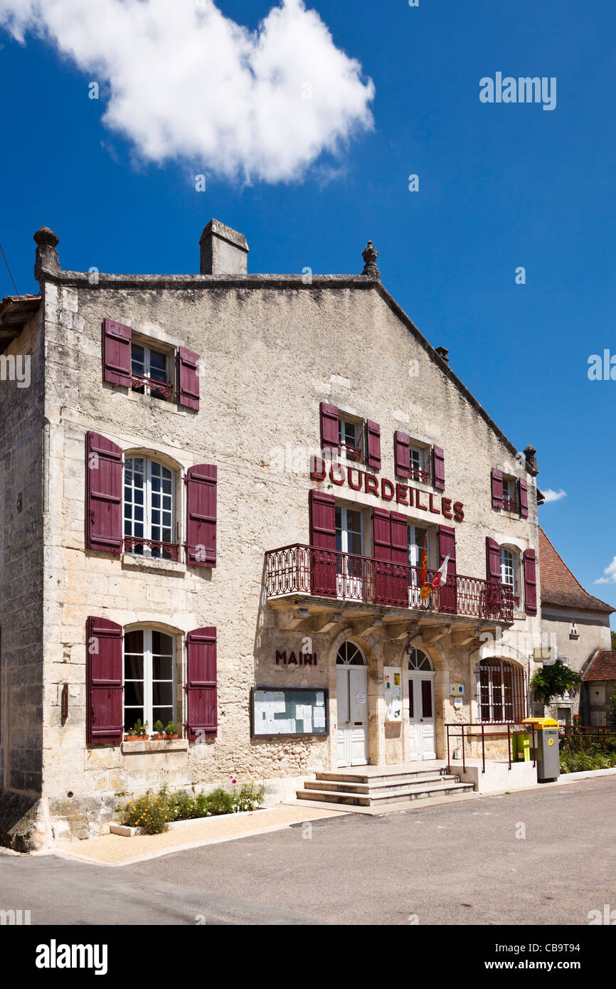 Mairie town hall at Bourdeilles, Dordogne, France - Stock Image