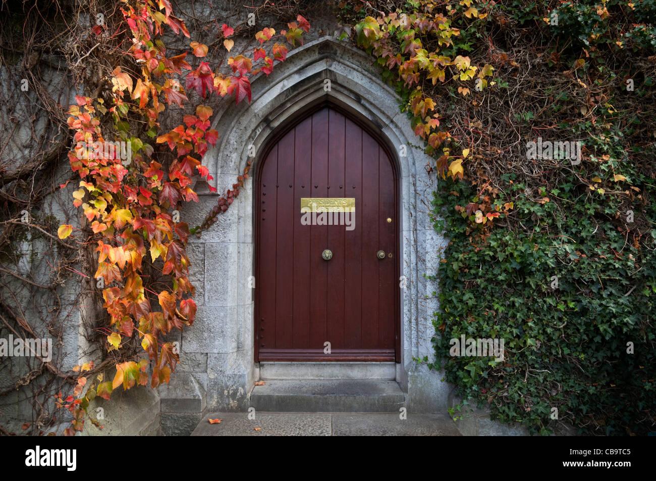 Door to the Presidents Office, The Quadrangle, University College Cork, Cork City, Ireland - Stock Image