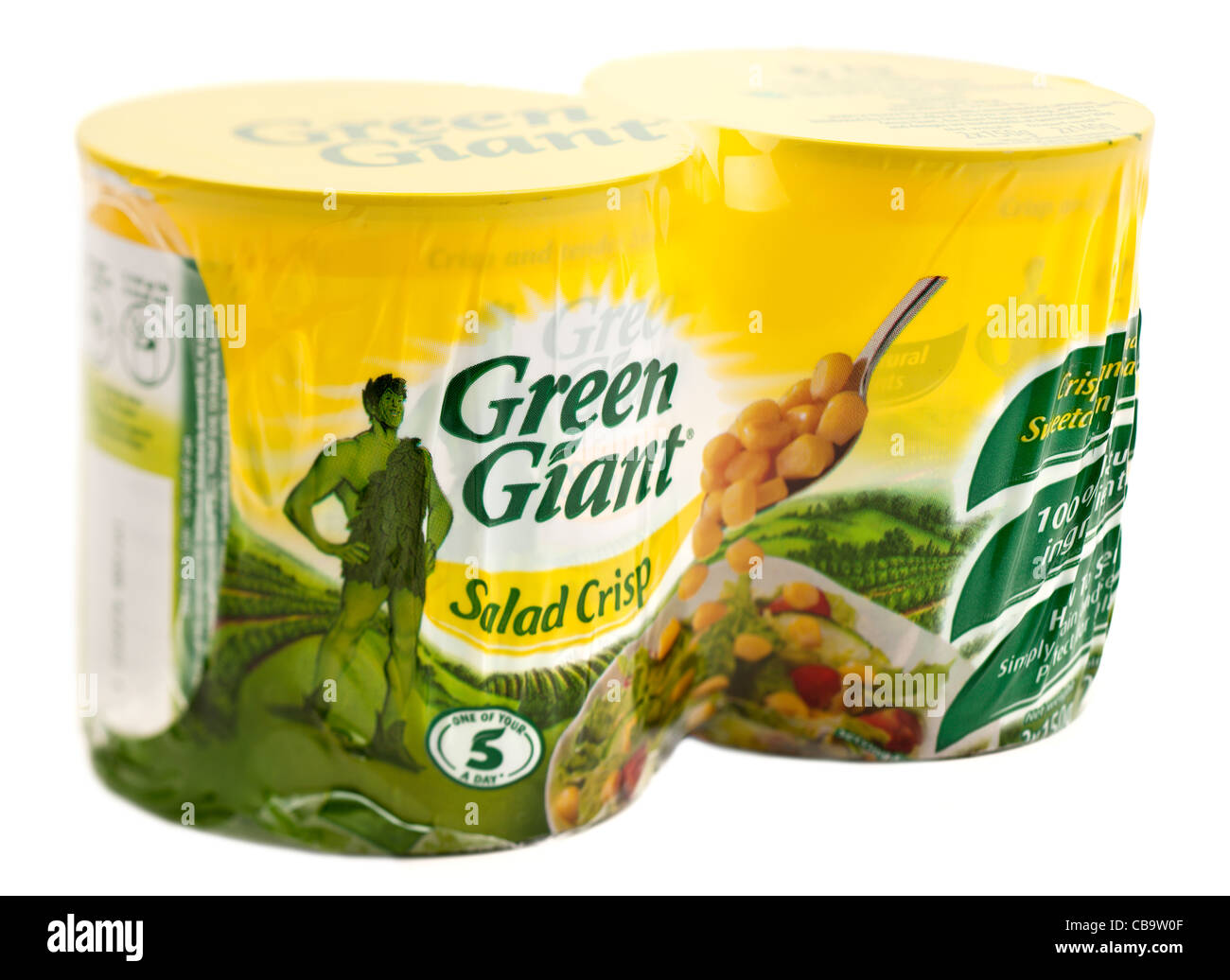 Twin cellophane pack of two tins of Jolly Green Giant salad crisp sweetcorn - Stock Image