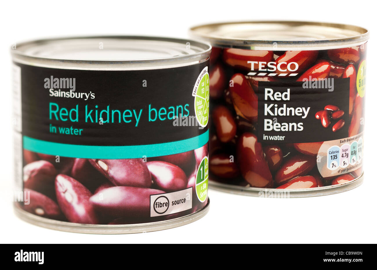 Tesco and Sainsburys tins of red kidney beans in water - Stock Image