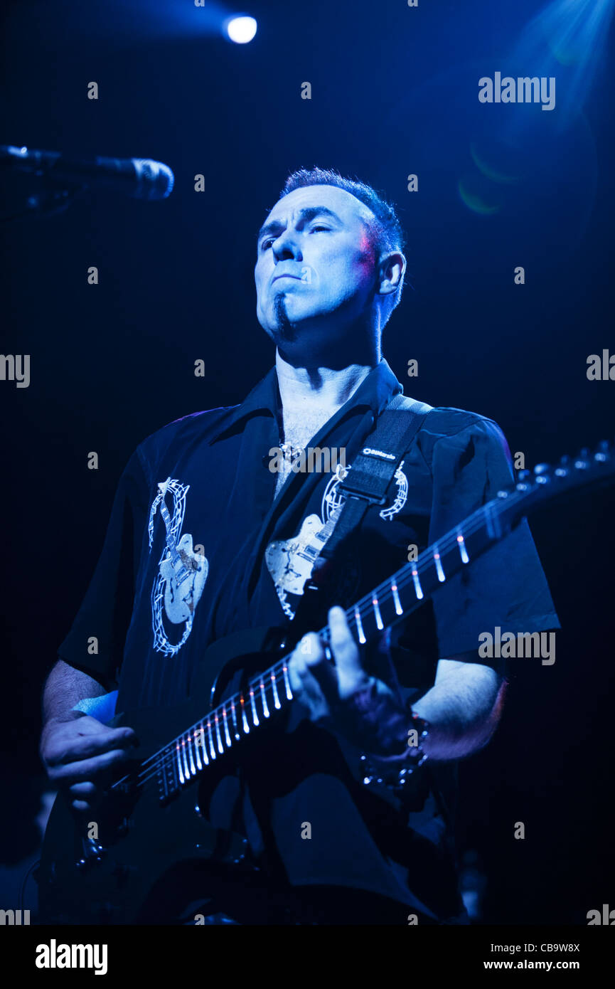Noko )Norman Fisher-Jones), guitarist,with the band, Magazine, performing at Manchester Academy 4-11-11 - Stock Image