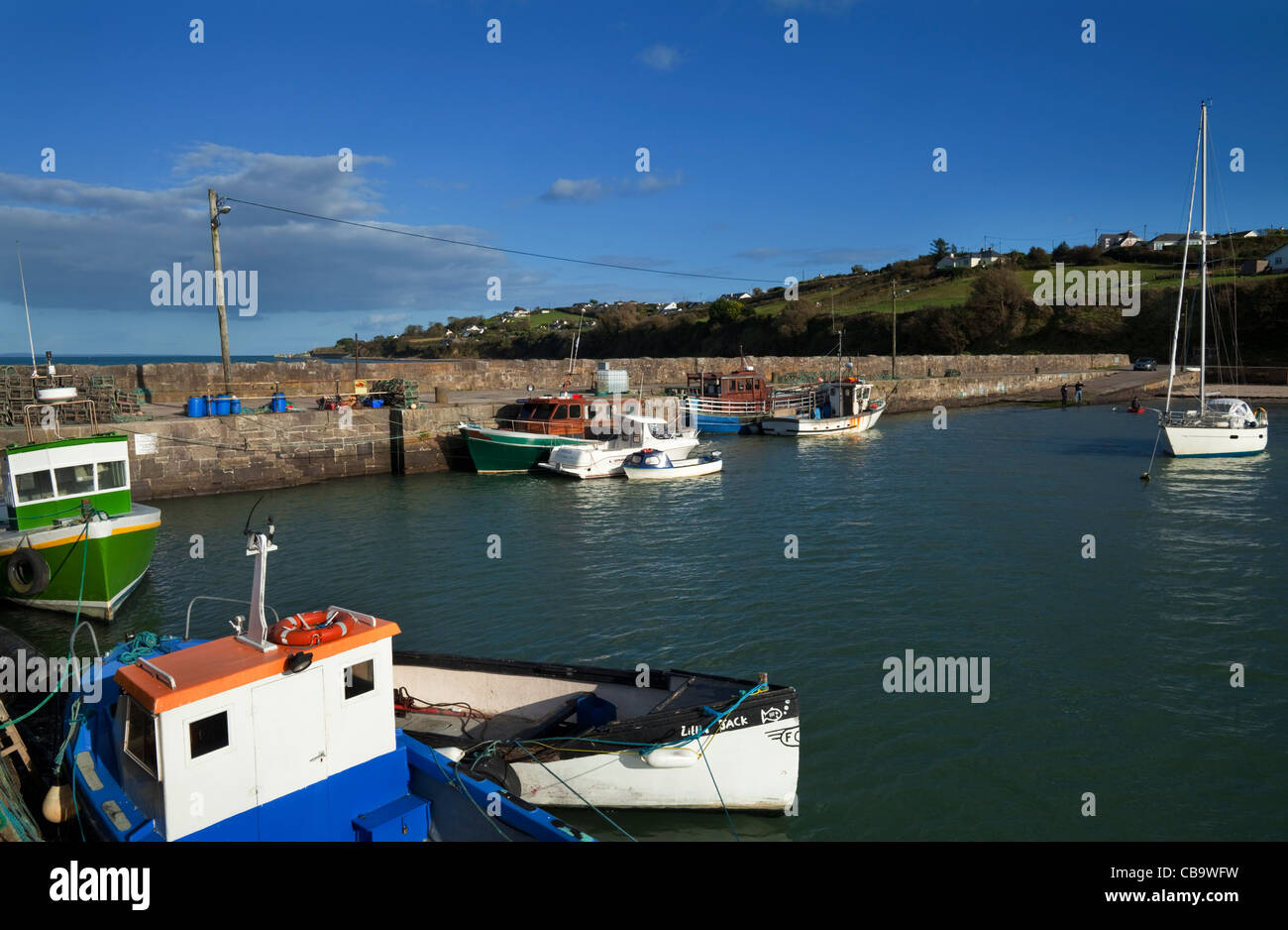 Ballynagaul Pier, The Ring Gaeltacht Area, County Waterford, Ireland - Stock Image