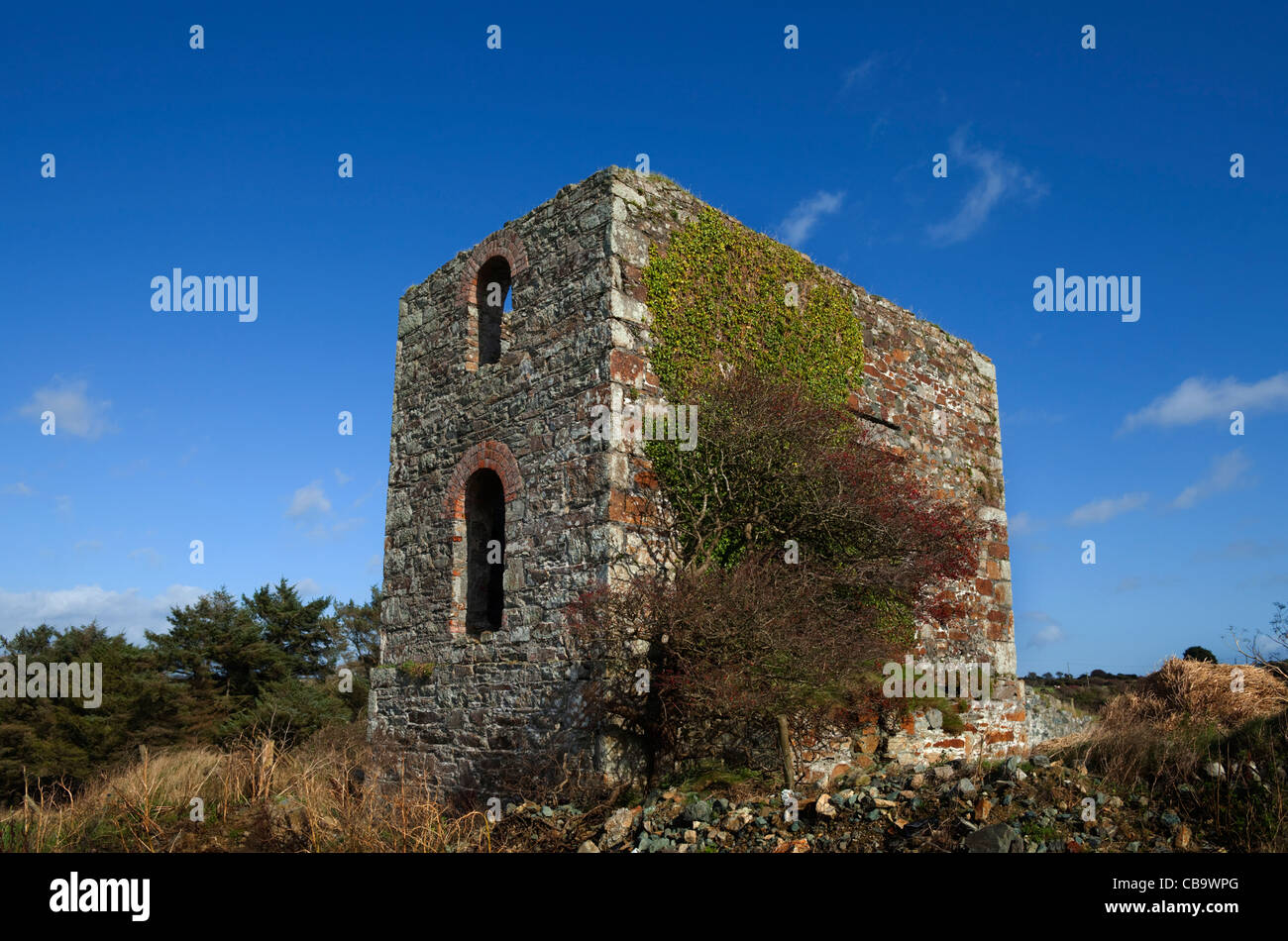 Abandoned Copper Mine Engine House, The Copper Coast Geopark, County Waterford, Ireland - Stock Image
