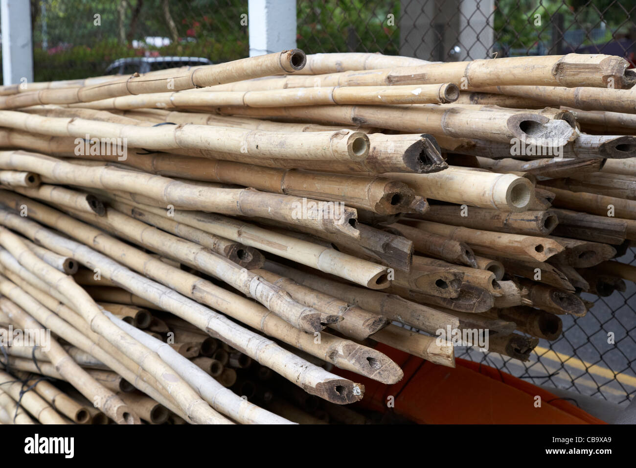 pile of bamboo poles used for building scaffolding hong kong hksar china - Stock Image