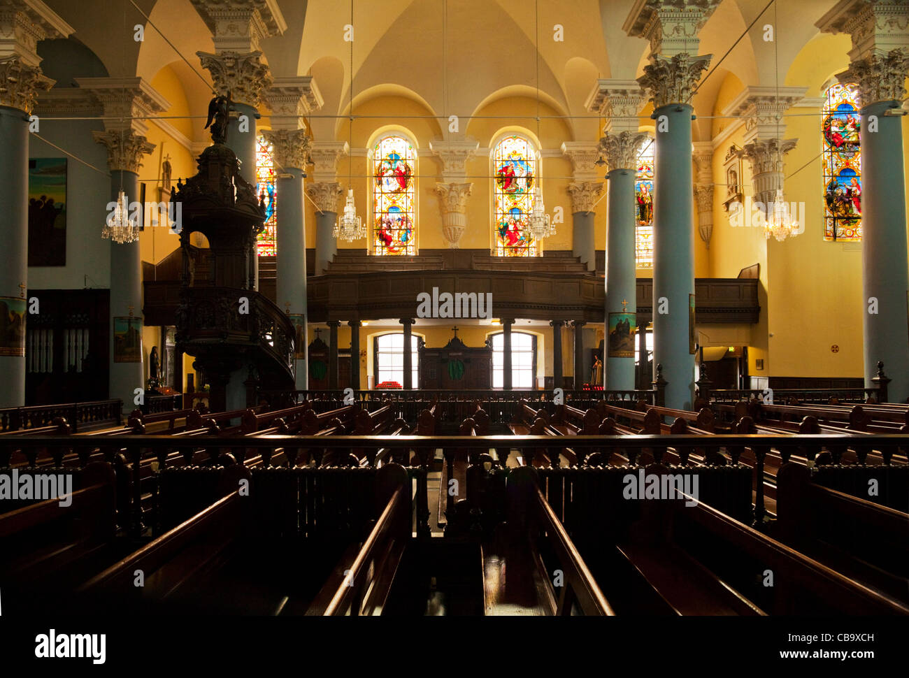 Stained Glass Windows in Holy Trinity R.C. Cathedral, Waterford City, Ireland - Stock Image