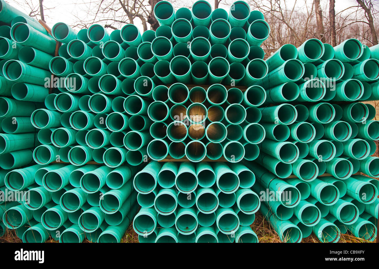 Pipes for Natural Gas Pipeline Construction - Stock Image
