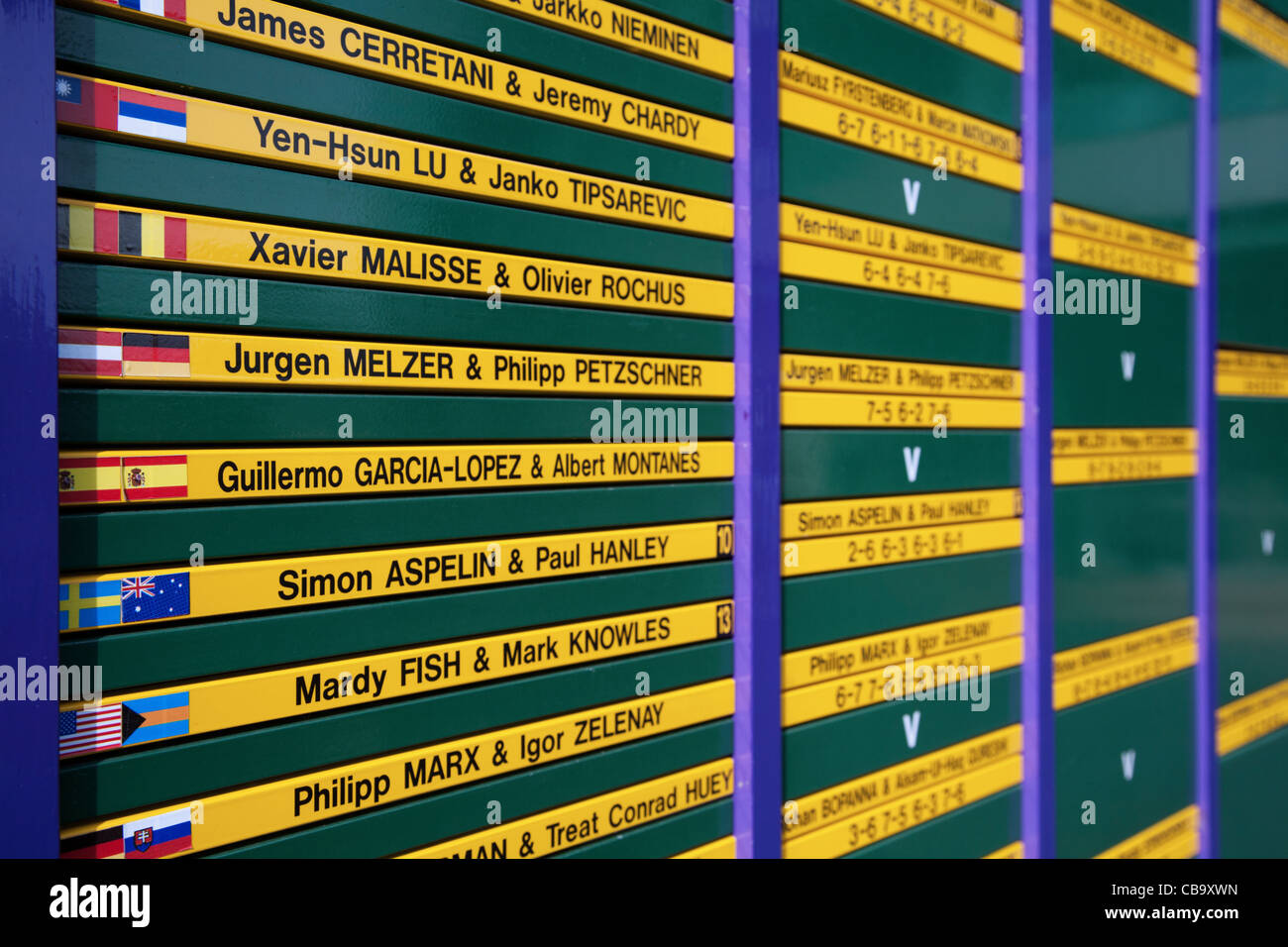 Match elimination results board in a tennis Grand Slam Championship - Stock Image