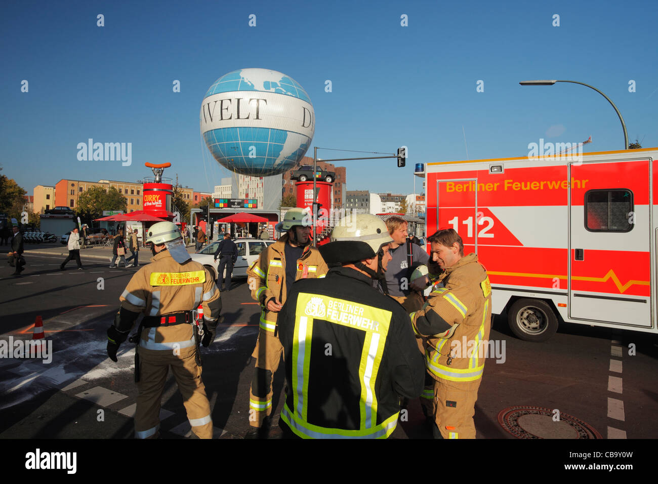 fire department after a road accident in Berlin - Stock Image