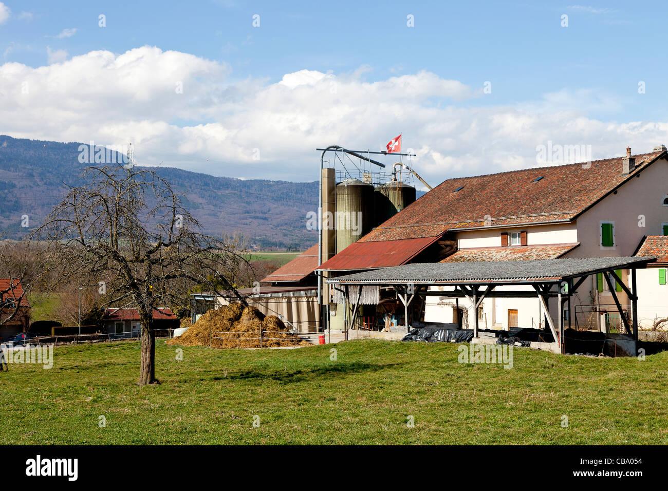 Farm buildings at Nyon, Vaud, Switzerland - Stock Image