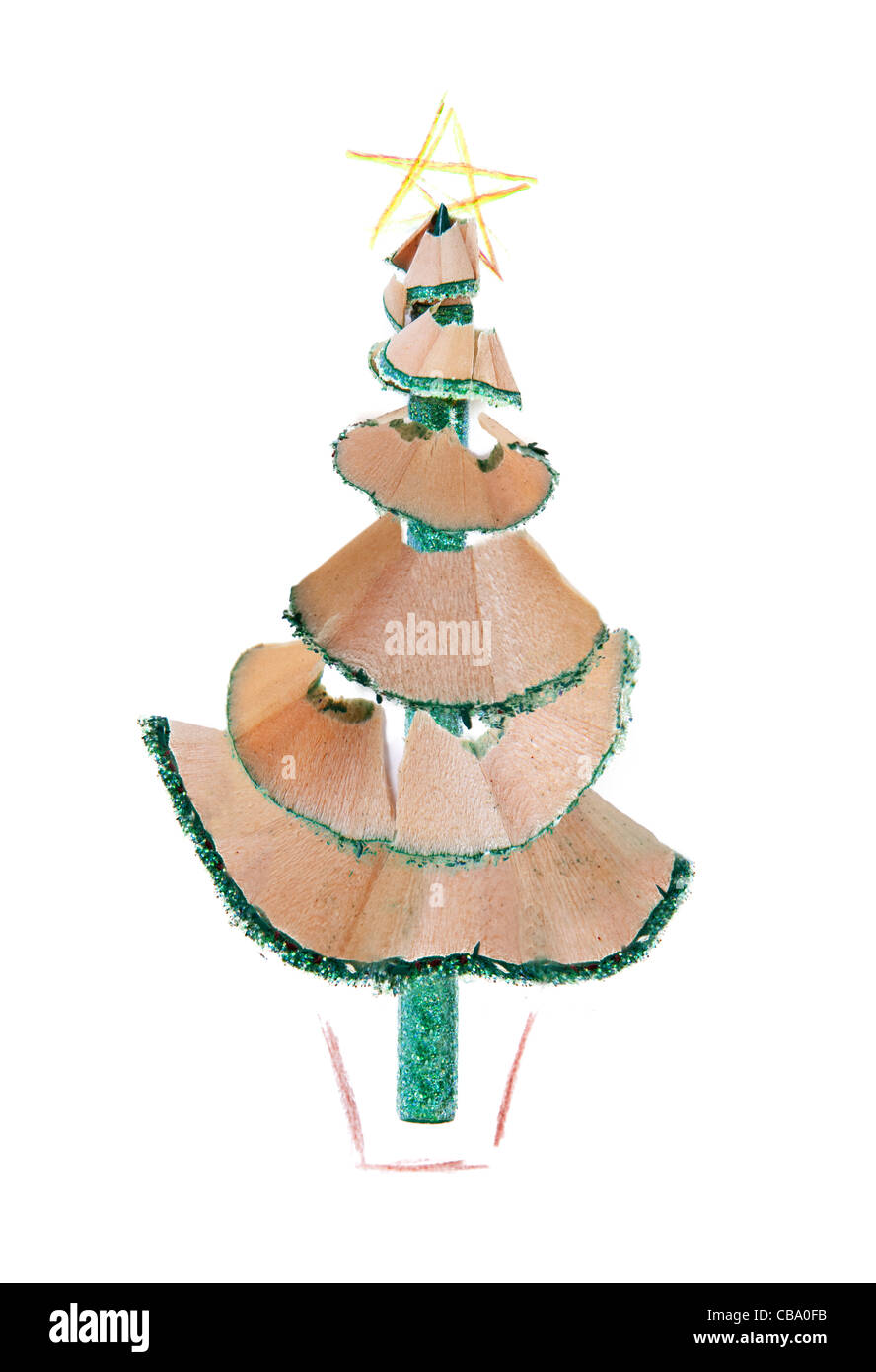 Office Christmas Tree, made out of a pencil and sharpening a coloured pencil and crayon drawings to finish it off - Stock Image