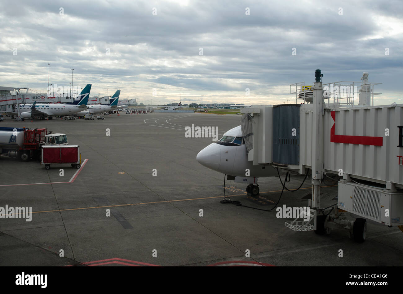 Airplane on the tarmac at the gate, international airport - Stock Image