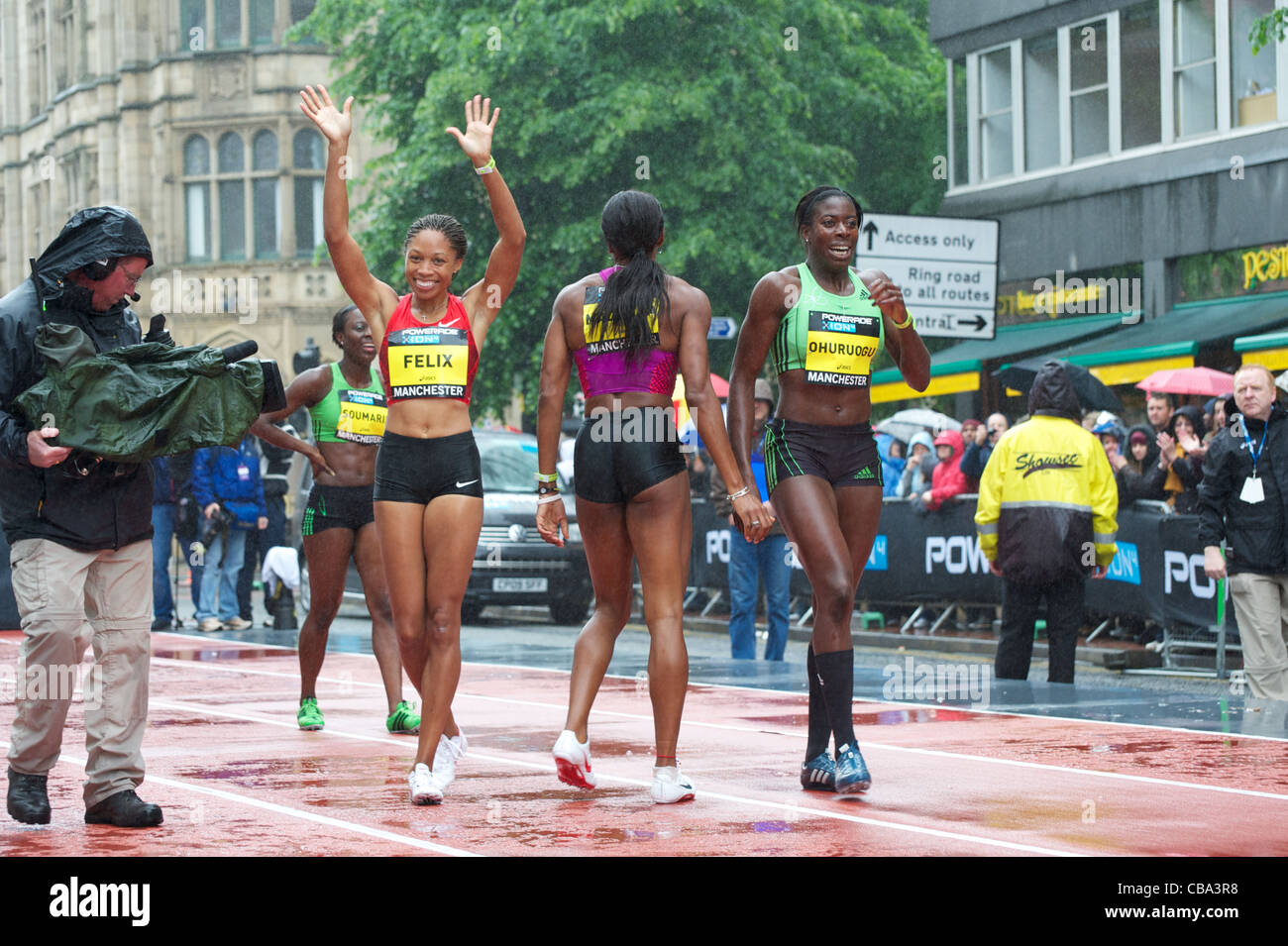 Allyson Felix, Christine Ohuruogu, Joice Maduka and Myriam Soumare after running in the Great City Games 2011, Manchester - Stock Image