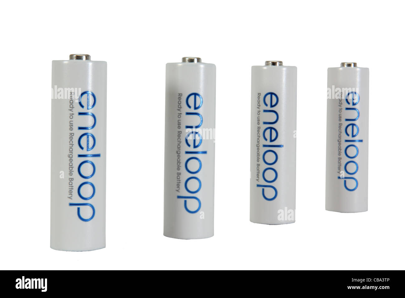 Perspective view of a group of 4 Sanyo Eneloop NiMH long life rechargeable batteries  isolated on white background Stock Photo
