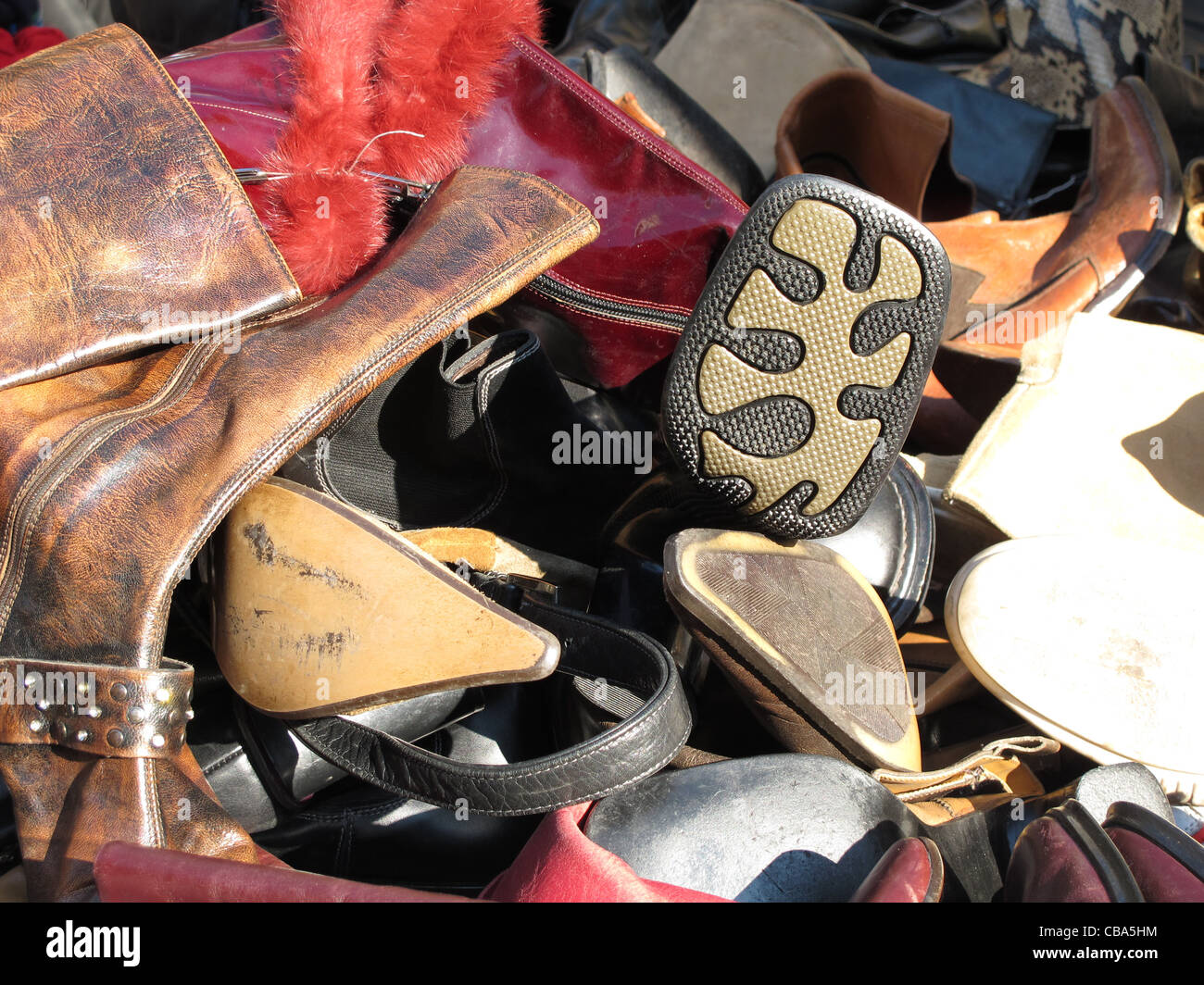 old shoes for sale at flea market Stock