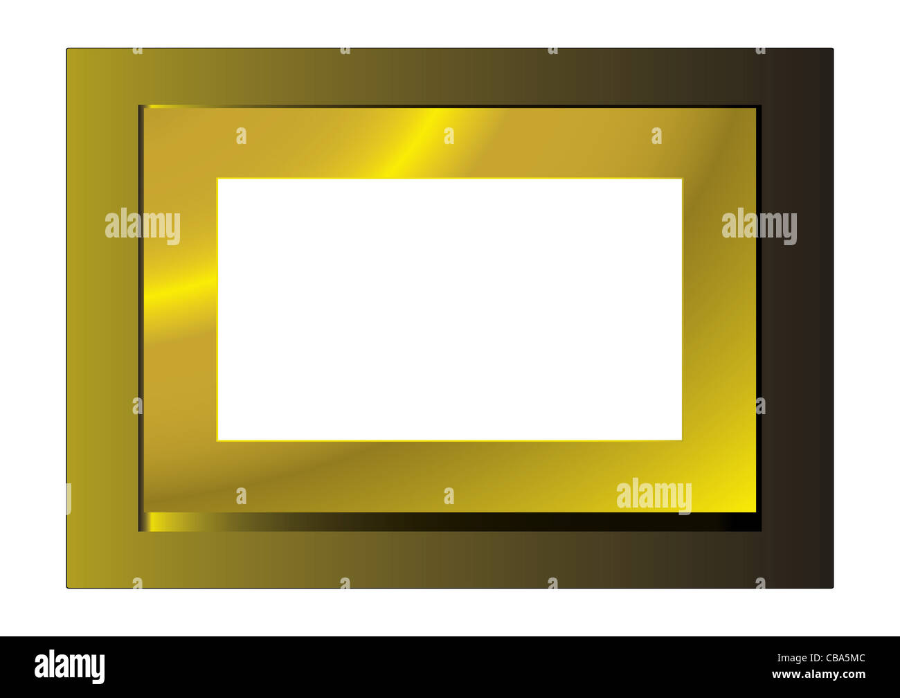 Gold metal frame with space for your own photograph - Stock Image