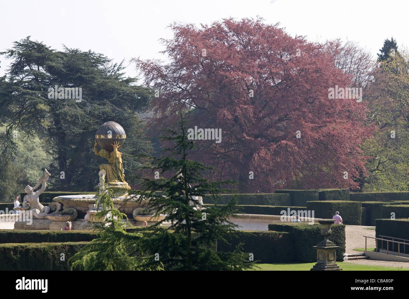 The garden and Atlas fountain Castle Howard, near Malton, North Yorkshire - Stock Image