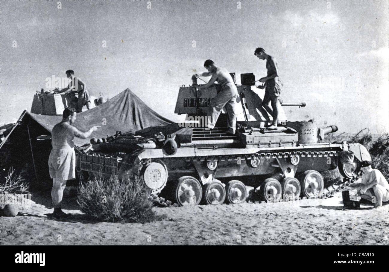 British WW11 A9 Valentine cruiser tank. North Africa. - Stock Image