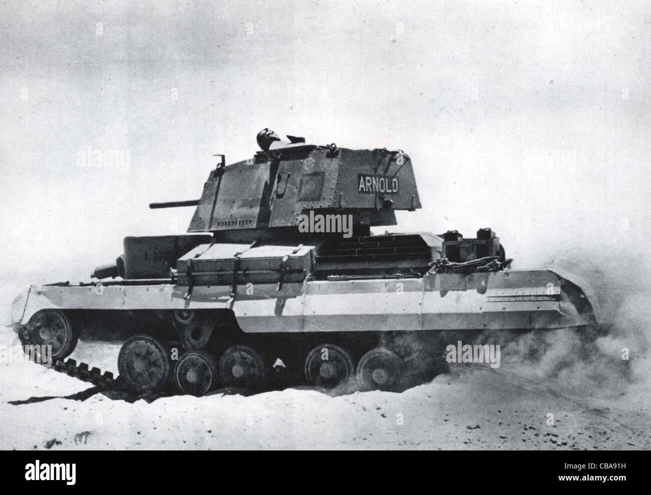 British WW11 Valentine cruiser tank. North Africa. - Stock Image