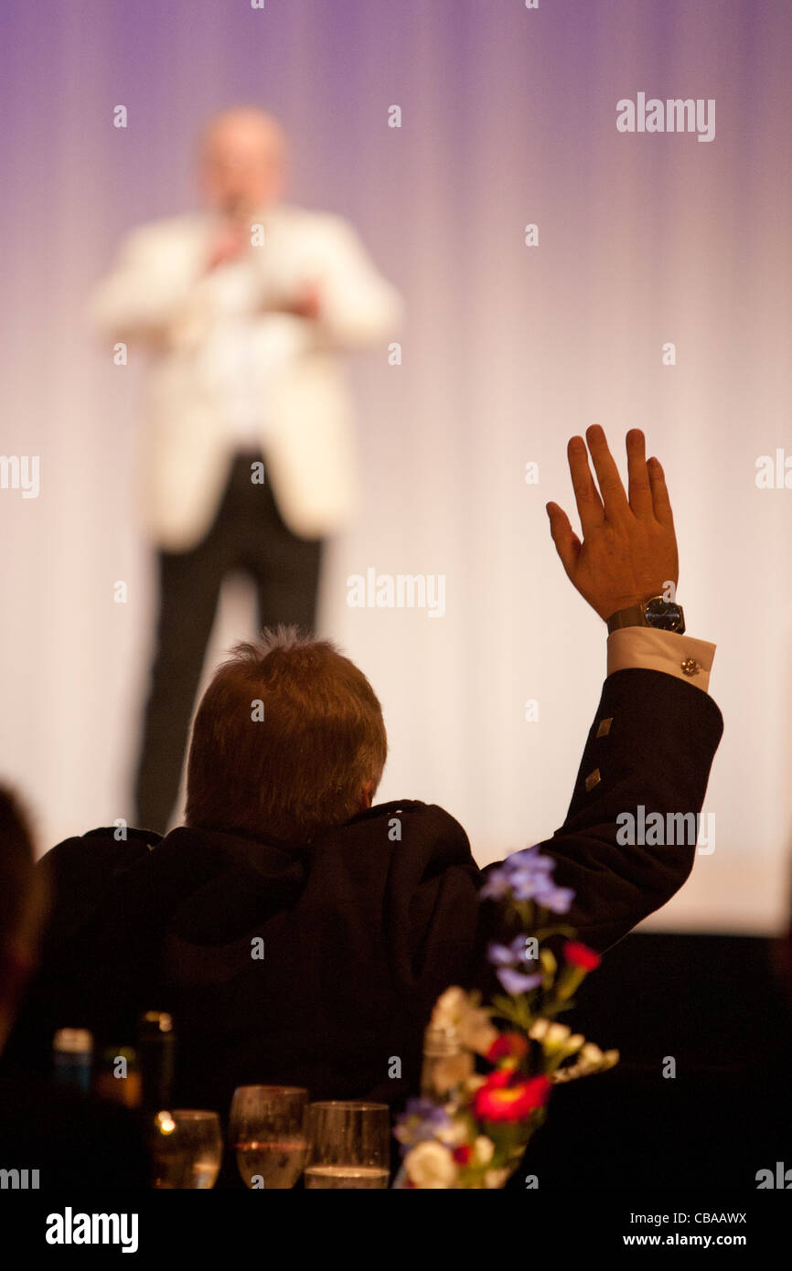 Master of ceremonies, MC, compere,  at an evening function, Japan. - Stock Image