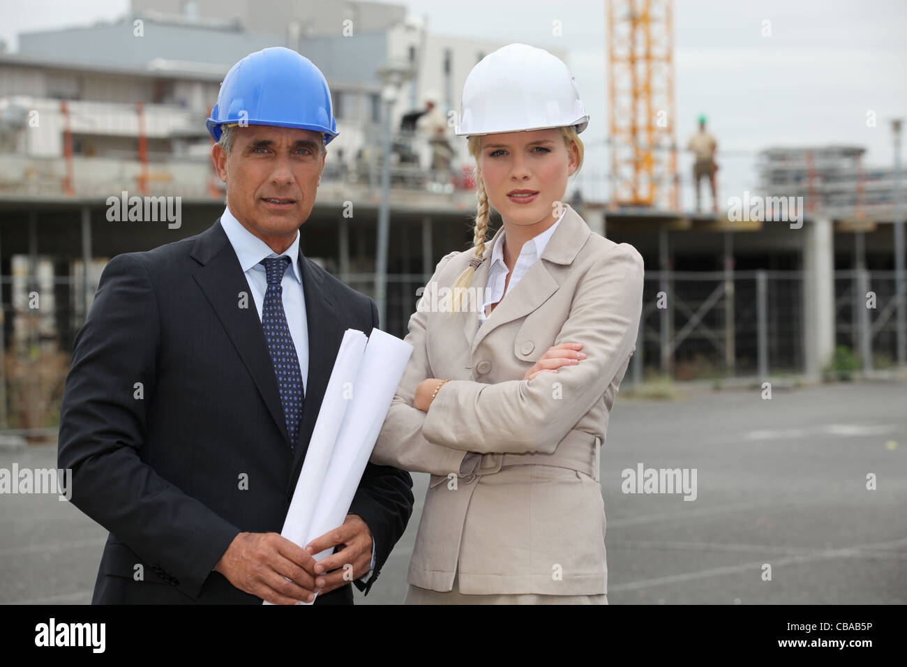 portrait of two contractors - Stock Image
