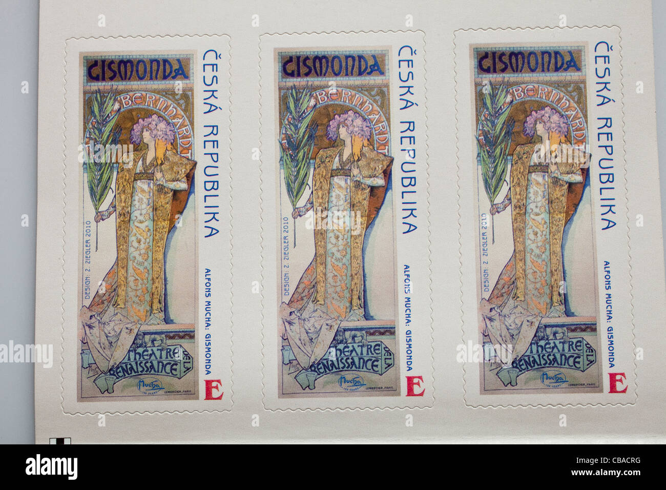 Czech E (Europe) denomination postage stamps with Gismonda motive by ...
