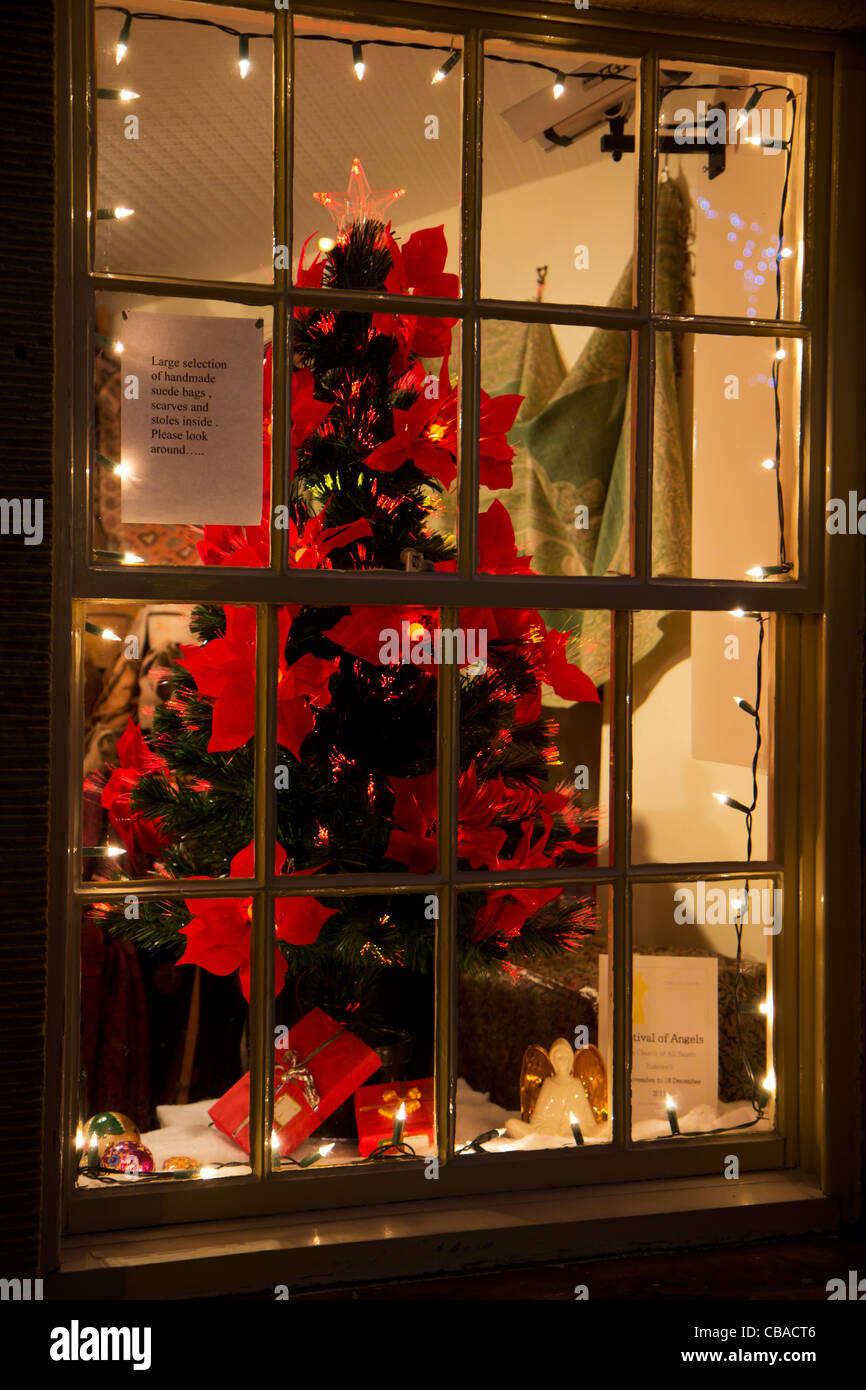 shop window  in Bakewell  a Peak district village in Derbyshire  Christmas - Stock Image