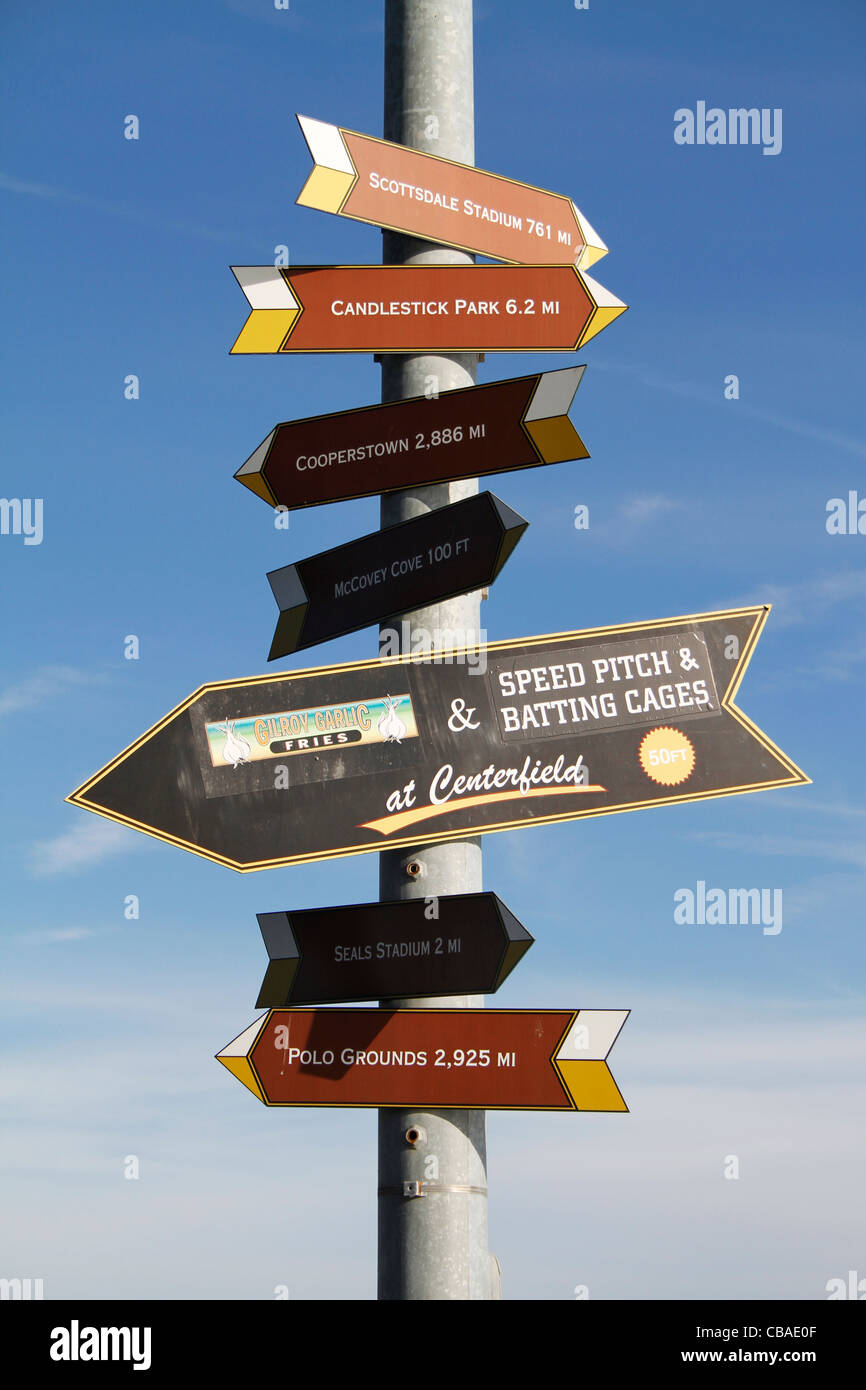 Directional Signs in San Francisco indicating distance and pointing to various parks and stadiums - Stock Image