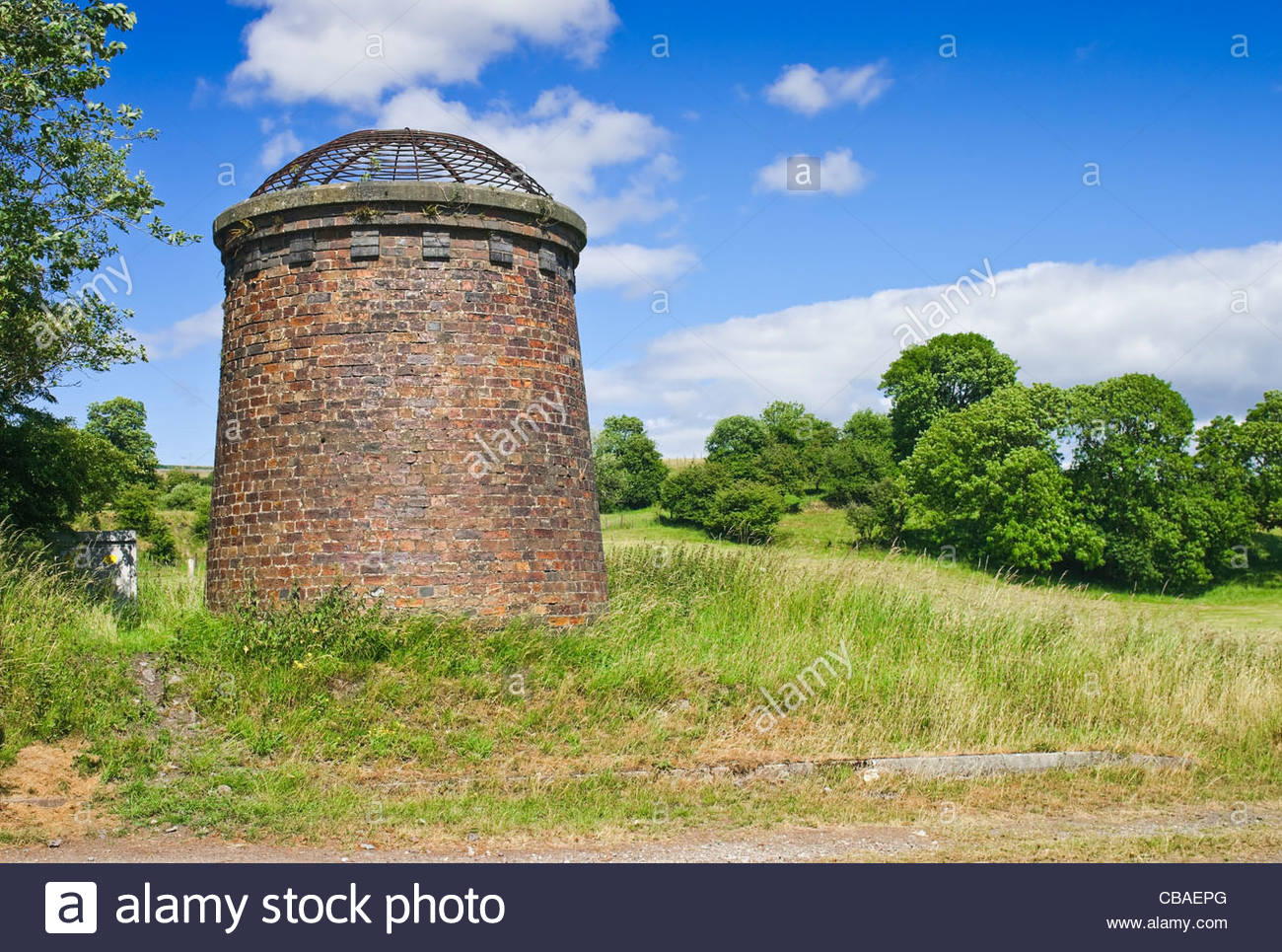 Railway tunnel ventilation shaft; Wales, UK - Stock Image