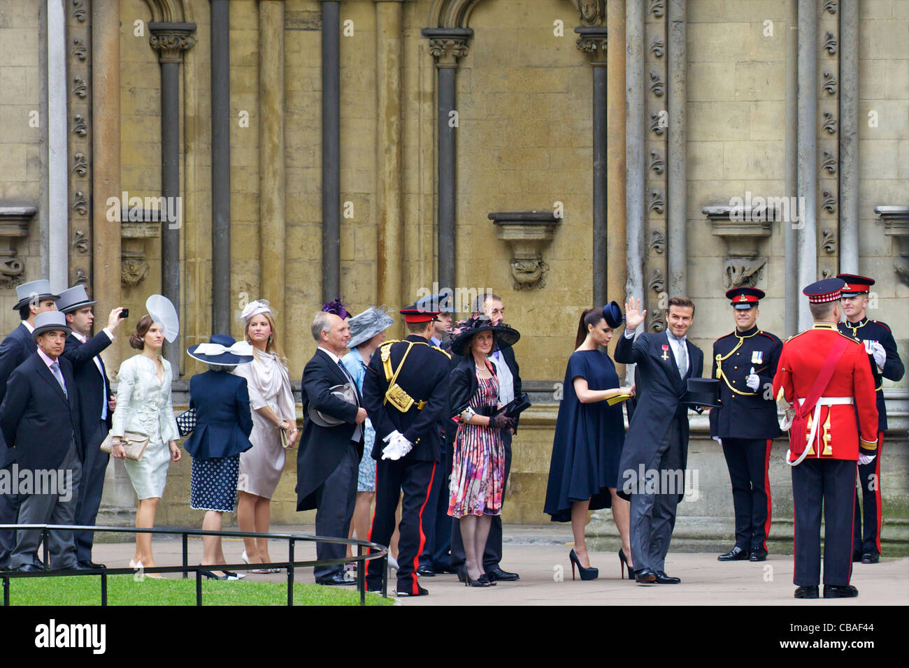 David and Victoria Beckham arriving outside Westminster Abbey for the marriage of Prince William to Kate Middleton - Stock Image