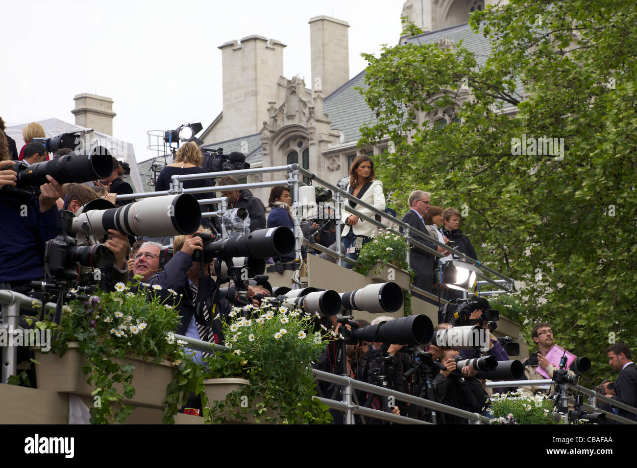 Press photographers  outside Westminster Abbey, Marriage of Prince William to Kate Middleton, 29th April 2011, London, - Stock Image