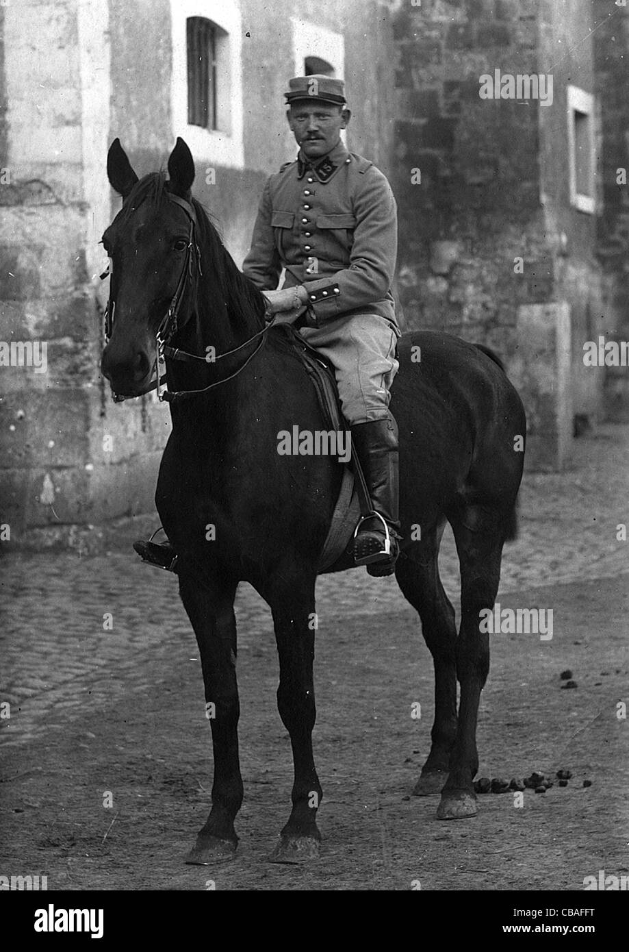 A French mounted trooper of the Great War. - Stock Image