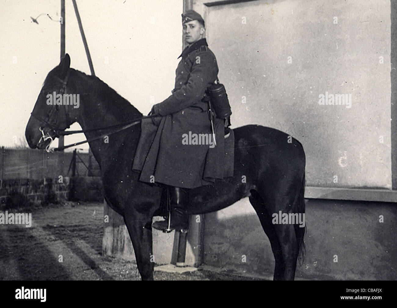 A German mounted soldier of WW11 - Stock Image