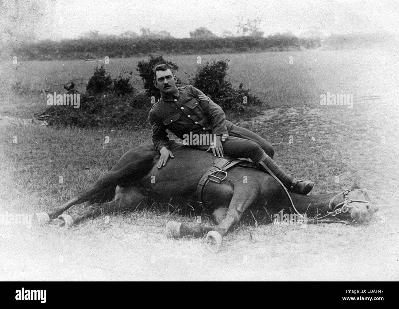 A cavalry trooper rests with his horse. WW1. - Stock Image