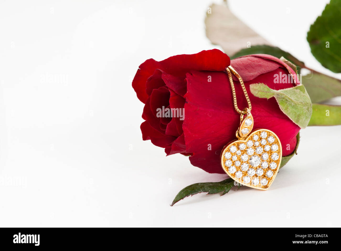 Heart pendant with diamond and red rose on white background stock heart pendant with diamond and red rose on white background mozeypictures Choice Image