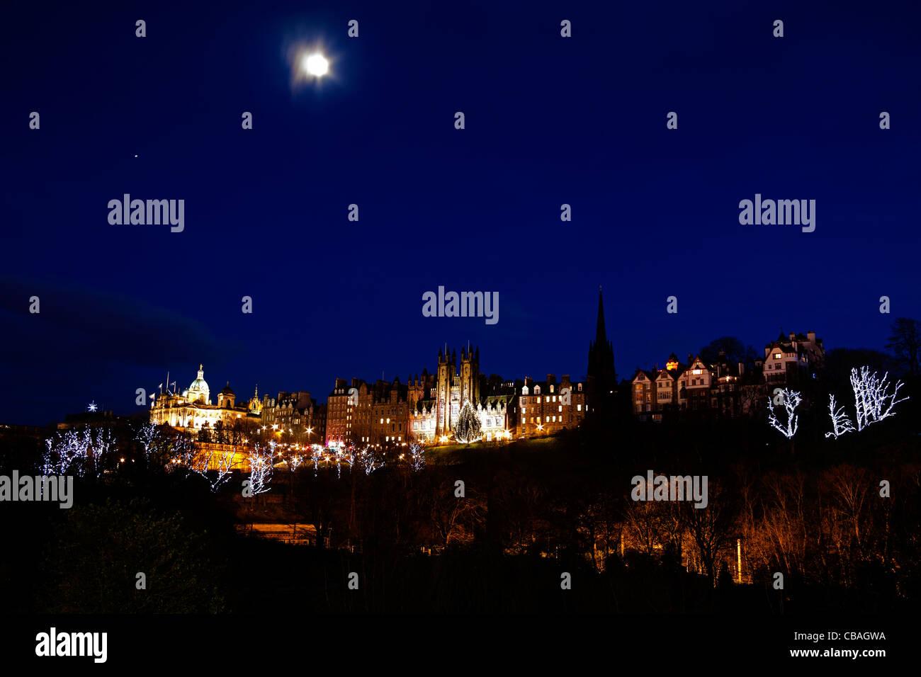 Illuminated Edinburgh Mound Christmas Scotland Uk Europe Stock Image