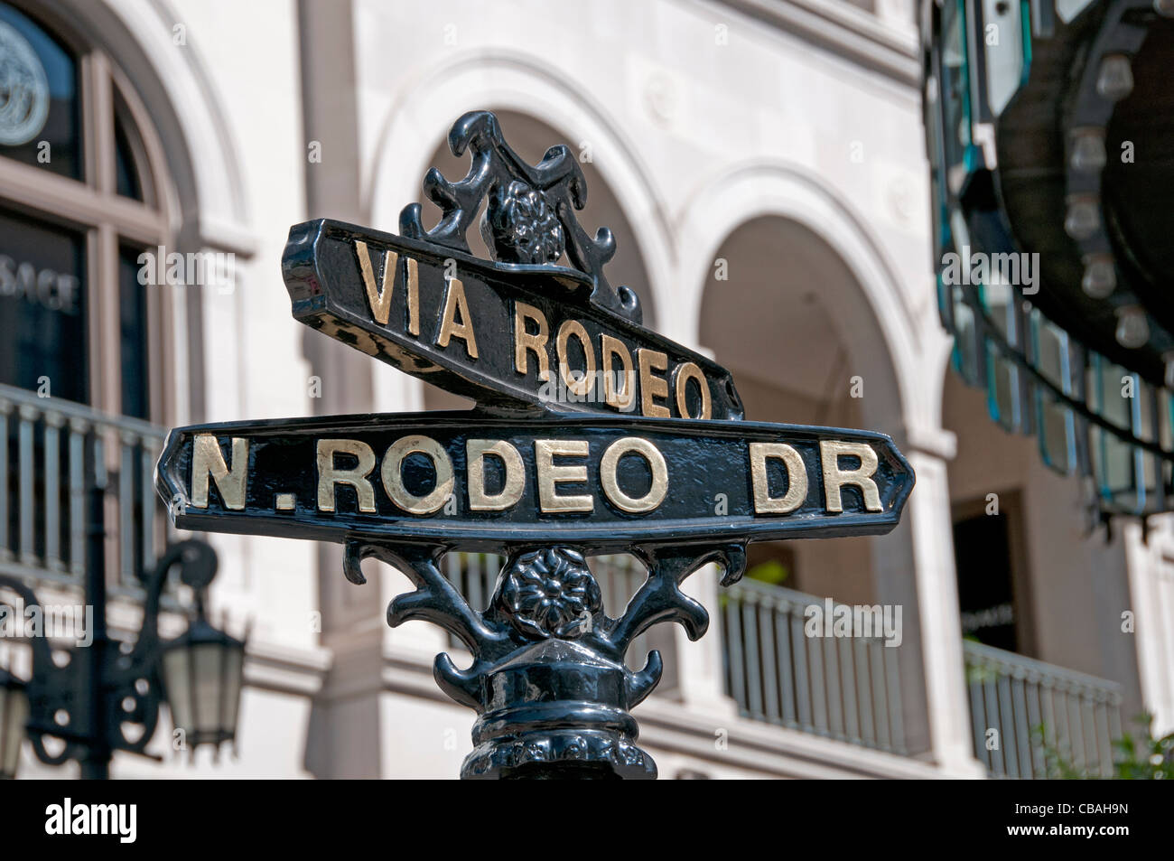 Rodeo Drive boutiques shops Beverly Hills Los Angeles California United States - Stock Image
