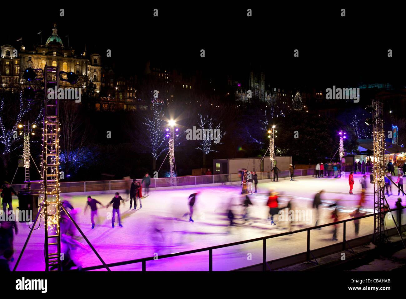 Edinburgh Christmas Ice Rink, Scotland UK Europe Stock Photo