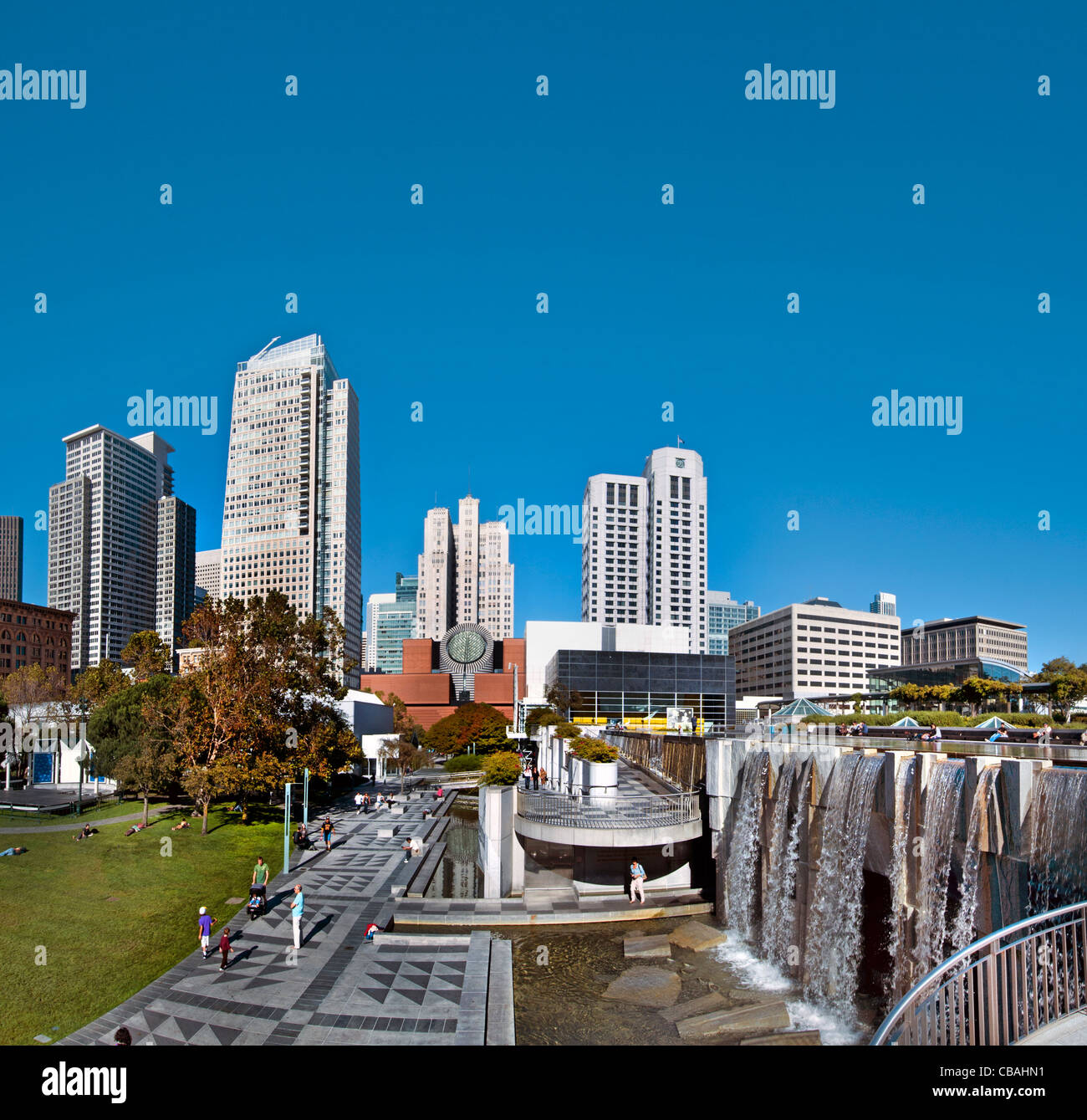 Yerba Buena Gardens cultural heart public parks 3-4 Mission and Folsom Streets downtown San Francisco California - Stock Image