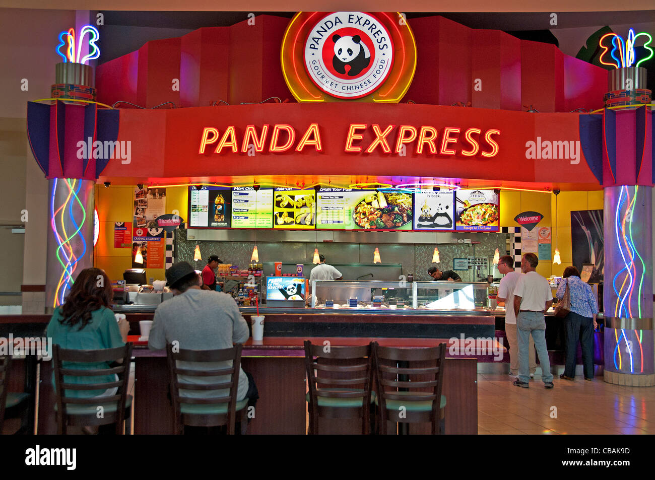 Panda Express Fast Food Shopping Mall Food Court United States - Stock Image