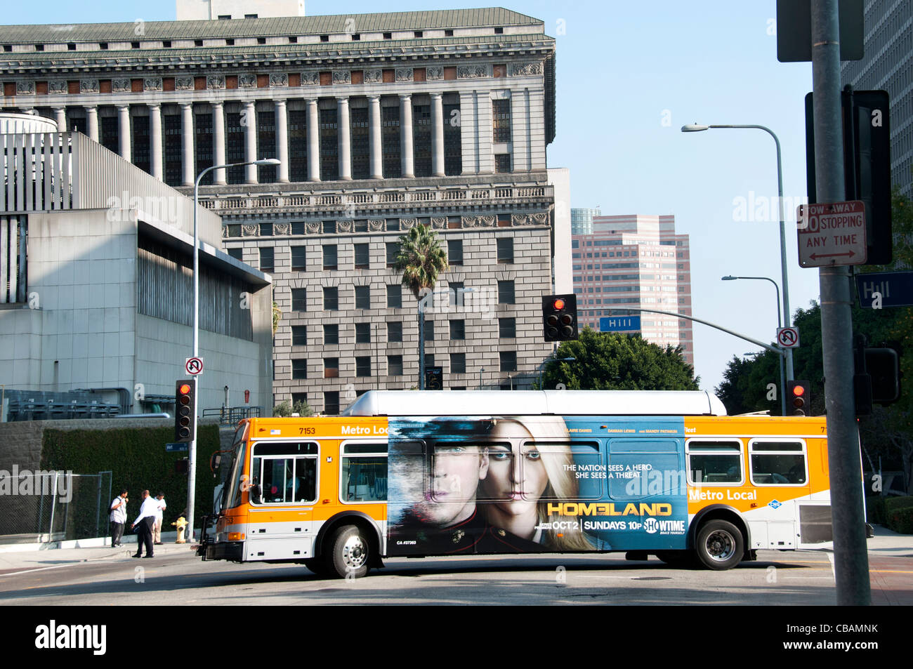 Downtown Bus public transport  City of Los Angeles United States of America American USA - Stock Image