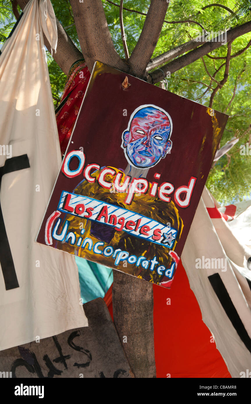 Occupy Wall Street Protest LA Downtown Los Angeles City TownUnited States of America American USA - Stock Image