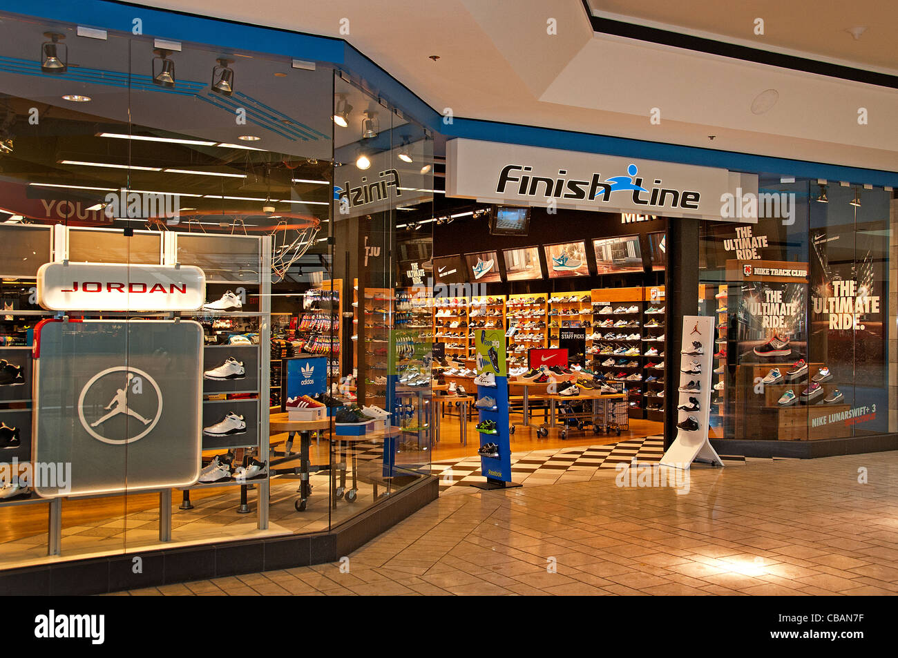 Finish line Jordan The Grove Farmers Market retail entertainment shopping mall  Los Angeles California United States - Stock Image