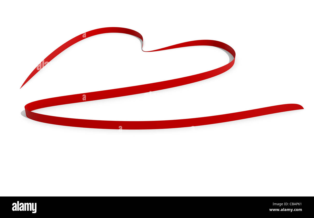 Red heart shaped ribbon on white - Stock Image